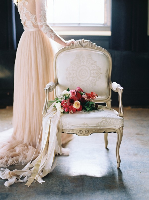 Romantic Vintage Wedding in Blush, Burgundy, and Gold