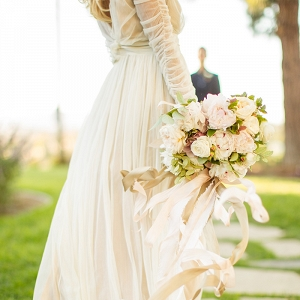 Champagne Chiffon Wedding Dress with an Elegant Neutral Bouquet
