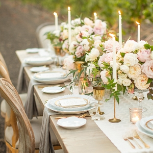 Vintage Farm Table in Gold and Champagne