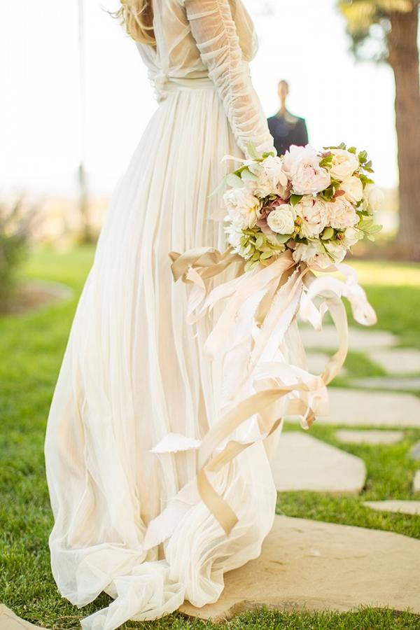 Champagne Chiffon Wedding Dress with an Elegant Neutral Bouquet