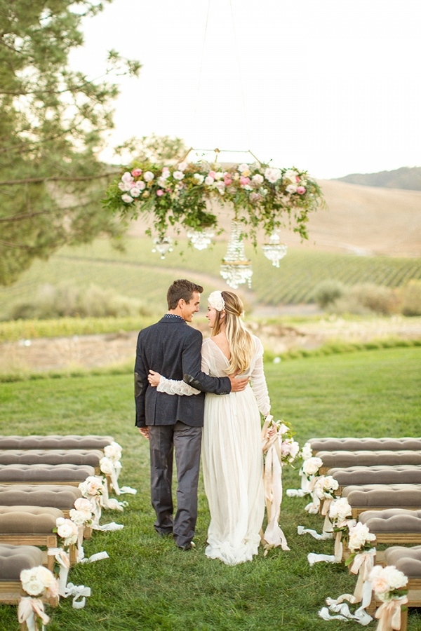 Elegant Winery Wedding Ceremony with a Floral Chandelier