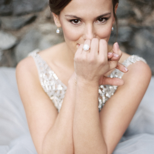 Adorable Cheeky Bridal Portrait with an Opal Engagement Ring