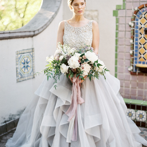 Pastel Lilac Wedding Dress with an Organic Bouquet