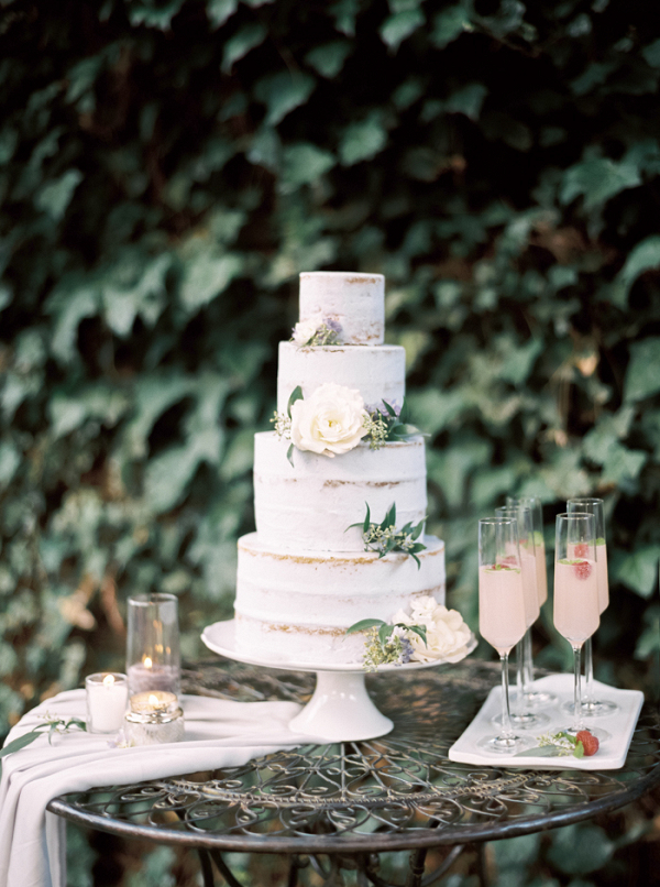Semi-Naked Wedding Cake with Garden Flowers and Raspberry Cocktails