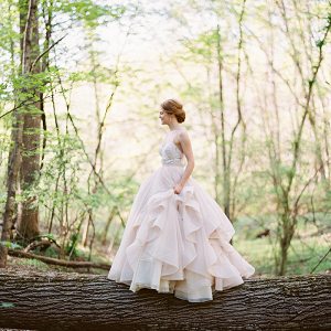 Woodland Bride in a Blush Wedding Dress