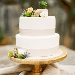 Succulent and Moss Mountain Wedding Cake