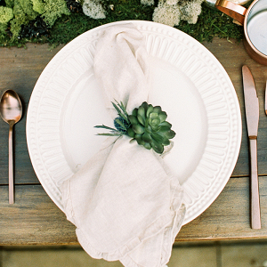 Rustic Bohemian Place Setting with Moss and Copper Details