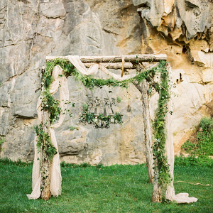 Woodland Ceremony Arbor with Greenery Garlands