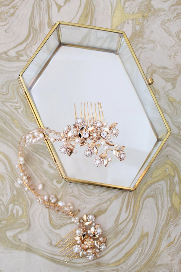Gold and Pearl Bridal Headpiece