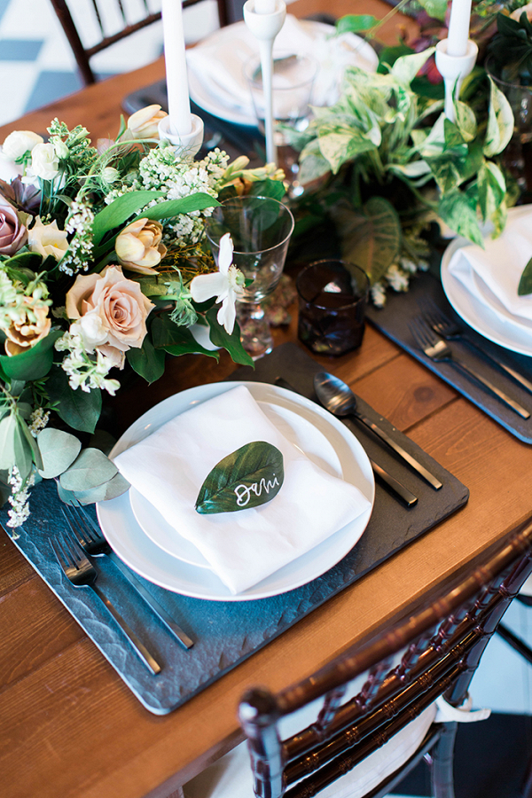 Greenery Runner with Slate Place Settings