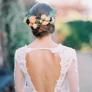 Floral Bridal Hairpiece with a Low Back Lace Wedding Dress