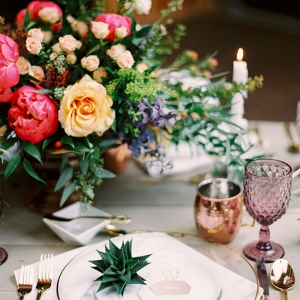 Succulents and Metallic Deco for a Bohemian Woodland Wedding