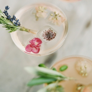 Cocktails with Floral Ice Cubes