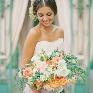 Vibrant Peach and Orange Spring Bouquet