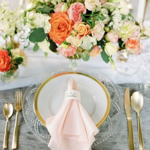 Peach and Gold Place Setting with Cut Crystal