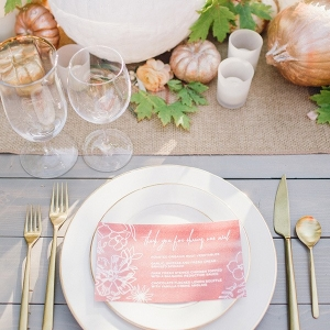 Country Place Setting with Metallic Pumpkins and Rose Gold Accents