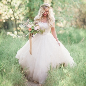 Romantic Woodland Bride in a Flowing Ball Gown