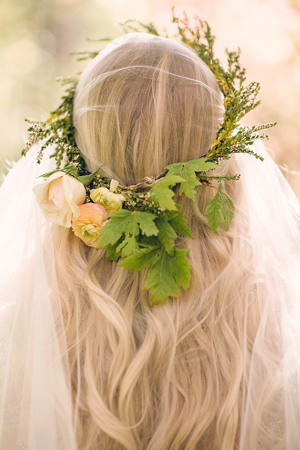 Veiled Bride with a Floral Crown in Fresh Spring Shades