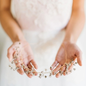 Delicate Gold and Crystal Bridal Crown