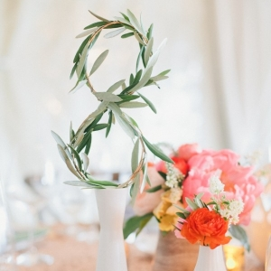 Greenery Table Numbers with Colorful Coral and Yellow Centerpieces