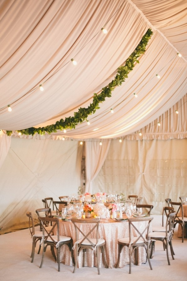 Romantic Draped Wedding Reception with Greenery Garlands and Blush Sequins