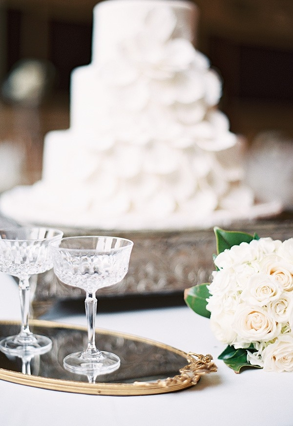 Vintage Champagne Coupes and a White Petal Wedding Cake