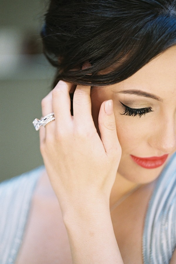 A Modern Emerald Cut Engagement Ring and Dramatic Bridal Makeup