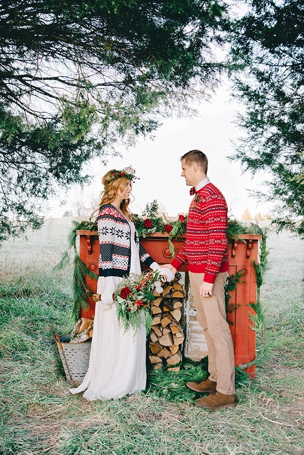 Rustic Winter Mantel Ceremony Backdrop for a Woodland Wedding