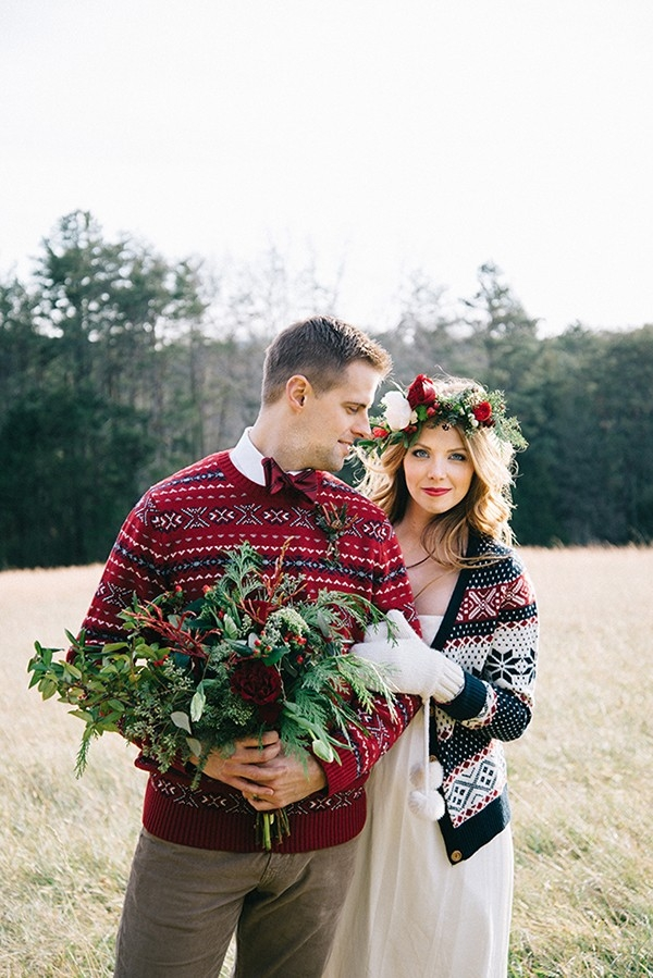 Cozy Bride and Groom Portraits with a Winter Bouquet and Holiday Sweaters