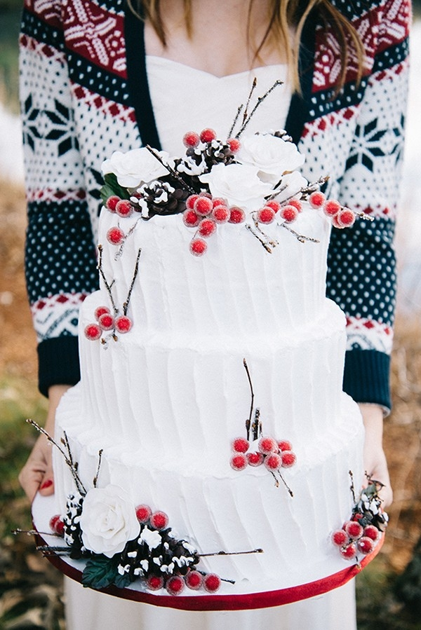 Rustic Winter Wedding Cake with Sugar Berries and Pinecones