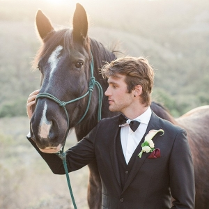 Groom with a Black Three Piece Suit  and a Horse
