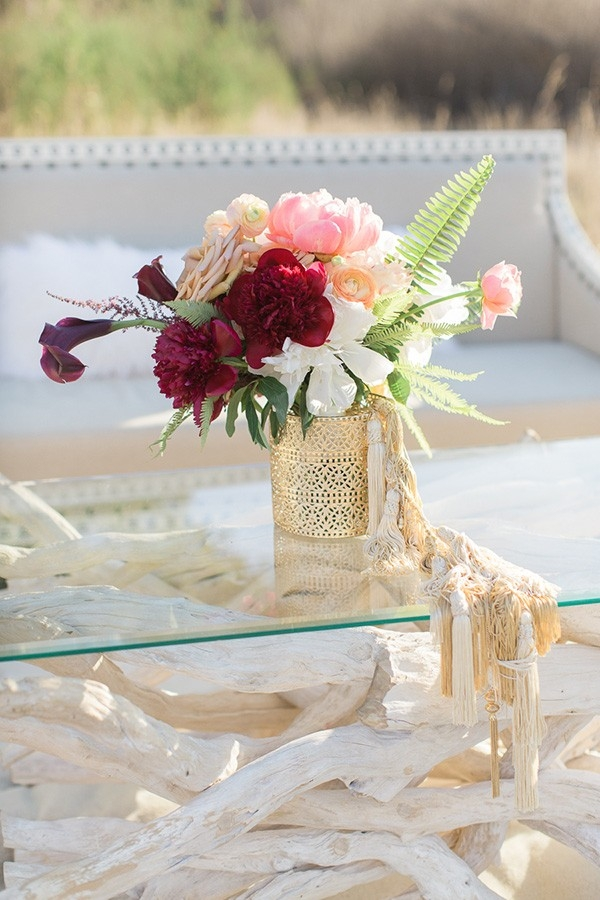 Coral and Burgundy Bouquet on a Driftwood Table