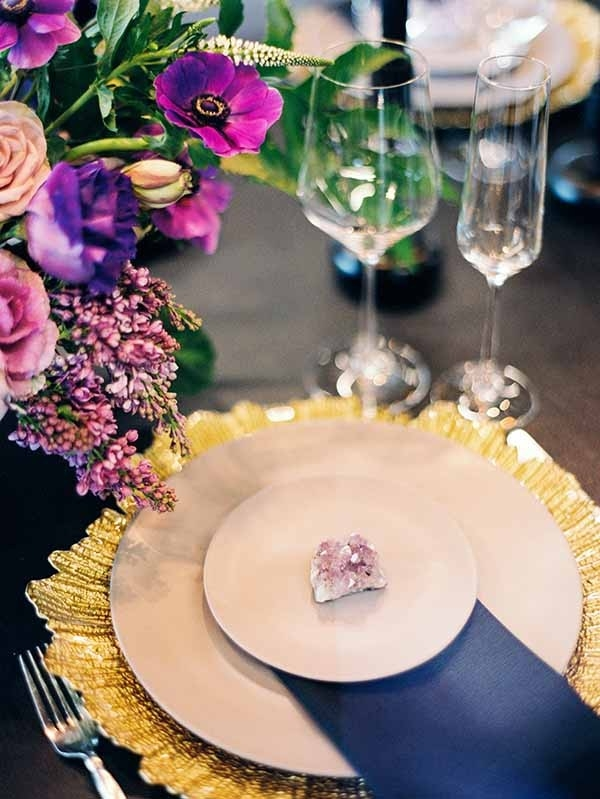 Purple and Gold Place Setting with Fresh Flowers and Raw Gemstones
