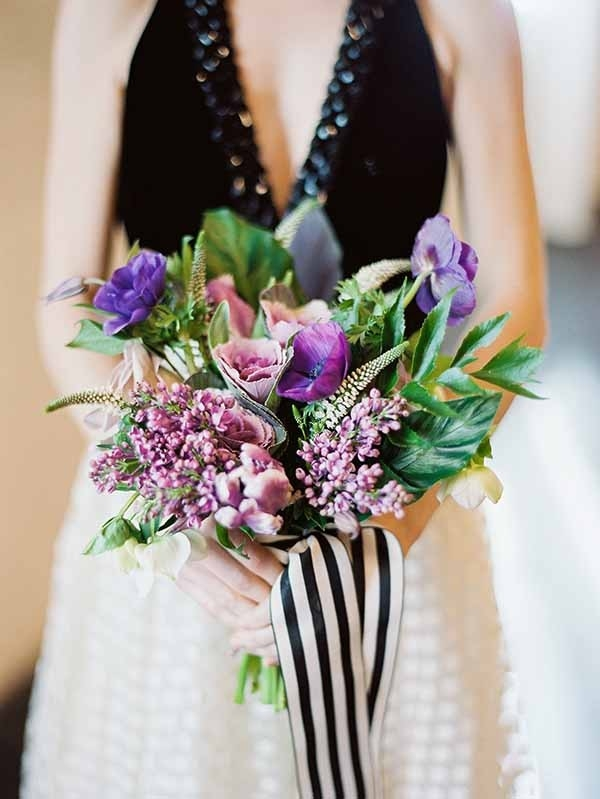 Modern Purple Bouquet with Black and White Striped Ribbon