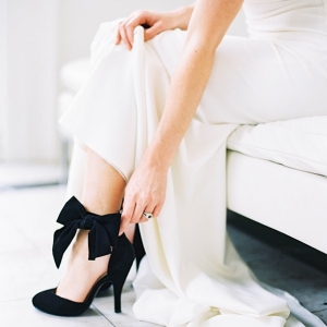 Chic Ankle Bow Heels for a Modern Bride