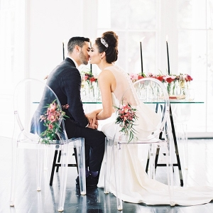 Modern Glam Wedding Reception with Bright Fall Flowers