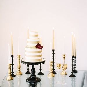 Preppy White and Gold Striped Wedding Cake