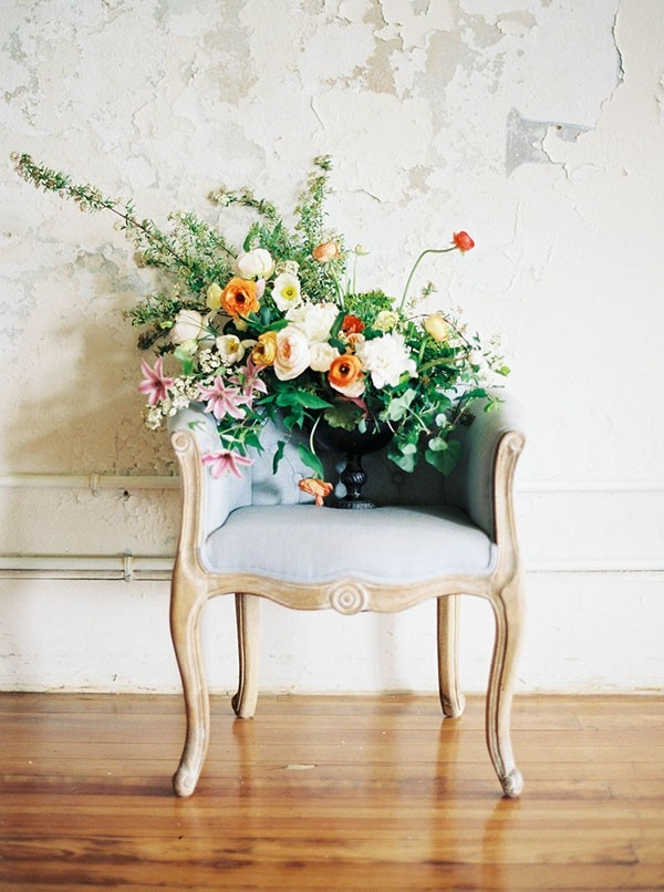 Lush and Organic Centerpiece on a Vintage Chair