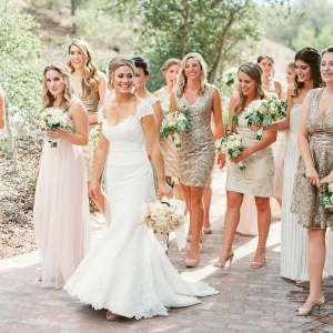 Bridesmaids in Mismatched Sparkling Dresses in Ivory, Champagne and Neutral Shades