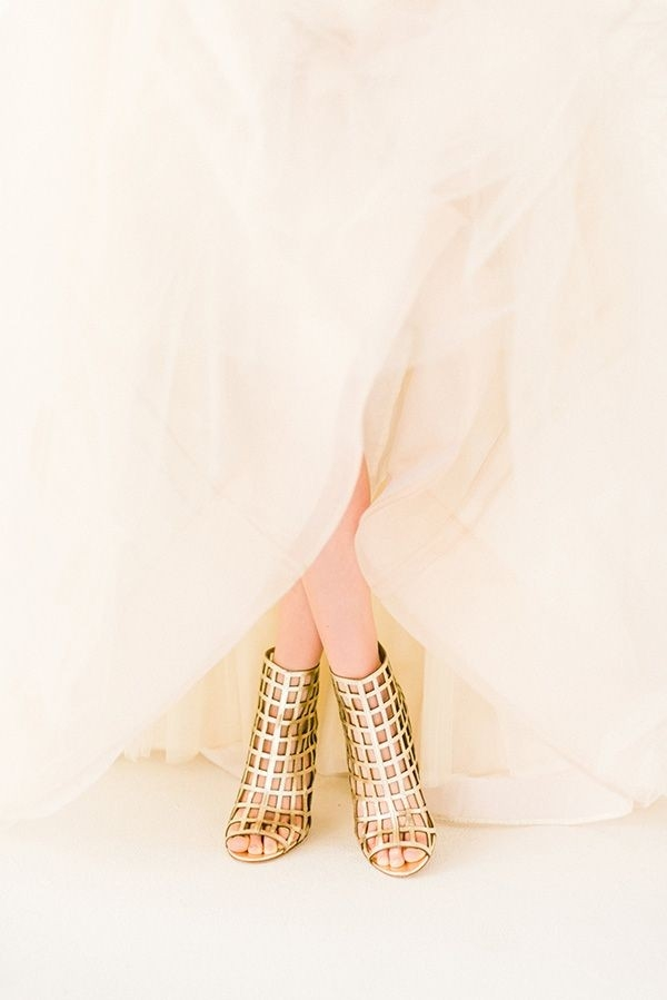 Ethereal Ball Gown with Gold Peep Toe Cage Booties