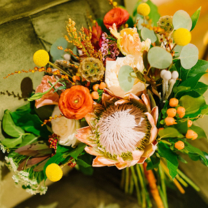 Green Yellow & Peach Wedding Bouquet