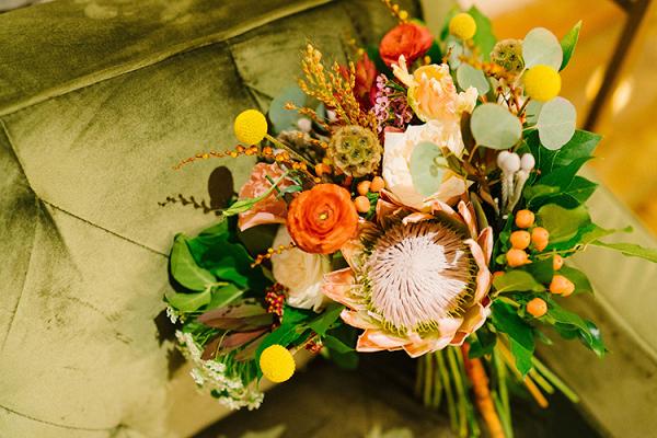 Green Yellow & Peach Wedding Bouquet