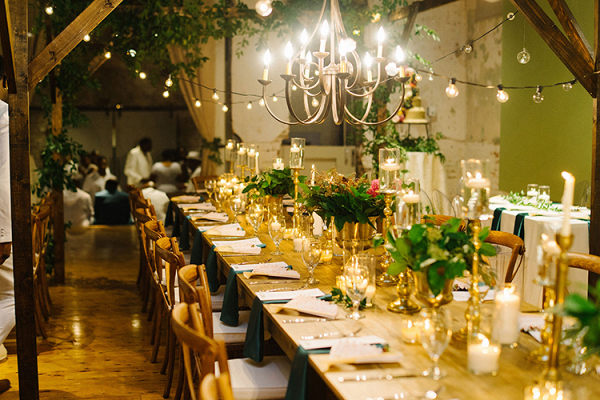 Emerald Gold Wedding Reception with Industrial Details