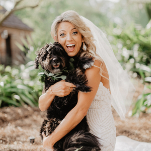 Bride with Dog at Wedding
