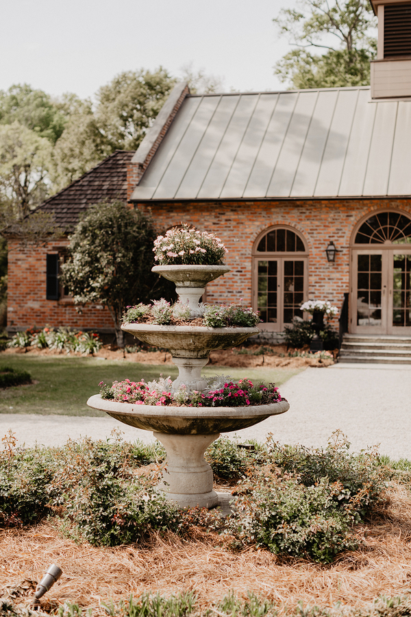 Fountain Filled with Flowers Wedding Venue