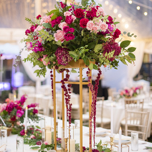 Rainy Pink & Burgundy Hotel Rooftop Wedding 28