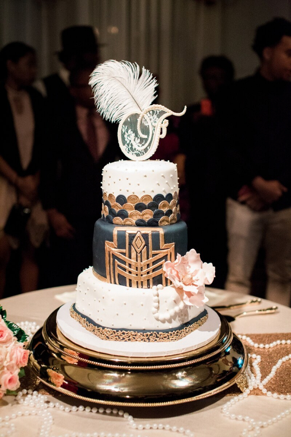 Gatsby-Themed-Garden-Wedding-Art-Deco-Wedding-Cake