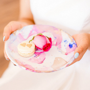 Artsy Glam Wedding Inspiration - pink painted china with macarons