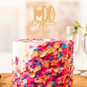 Artsy Glam Wedding Inspiration - pink colorful smudge painted cake