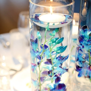 Blue Purple New Jersey Wedding - flowers immersed in water centerpiece